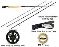 TFO NXT 4/5 Fly Rod& Ross Eddy 5/6 Fly Reel Combo w/ Rod Case & Fly Line - Lt Olive